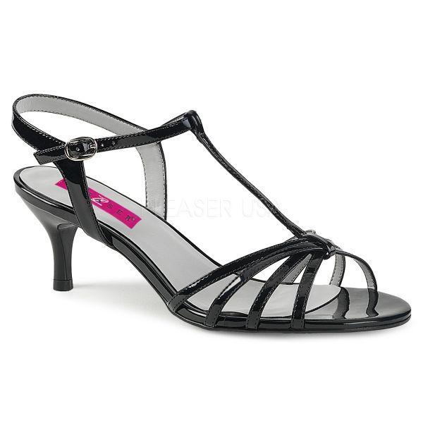 KITTEN-06 Klassische T-Strap Sandalette schwarz Lack